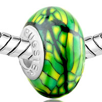 European Beads - GREEN STIPES YELLOW SPOTS DOTTED POLYMER CLAY BEADS CHARMS BRACELETS alternate image 1.