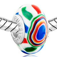Charms Beads - GREEN RED YELLOW BLUE STRIPES FIT BEADS CHARMS BRACELETS ALL BRANDS alternate image 1.