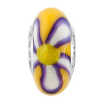 Charms Beads - PURPLE YELLOW FLOWER POLYMER LAMPWORK SILVER MURANO GLASS BEADS CHARMS BRACELETS FIT ALL BRANDS alternate image 2.