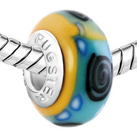 European Beads - BLACK WHIRLPOOL BLUE DOTS PALE GREEN YELLOW POLYMER CLAY FIT ALL BRANDS &  BEADS CHARMS BRACELETS alternate image 1.