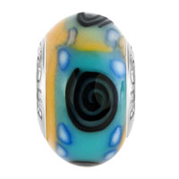 European Beads - BLACK WHIRLPOOL BLUE DOTS PALE GREEN YELLOW POLYMER CLAY FIT ALL BRANDS &  BEADS CHARMS BRACELETS alternate image 2.