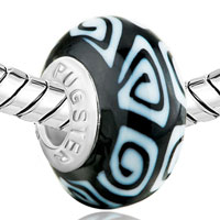 Charms Beads - WHITE BLACK IRREGULAR POLYMER CLAY FIT &  MURANO GLASS BEADS CHARMS BRACELETS ALL BRANDS alternate image 1.