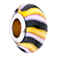 Charms Beads - HANDMADE YELLOW BLACK WHITE STRIPES POLYMER CLAY MURANO GLASS BEADS CHARMS BRACELETS FIT ALL BRANDS alternate image 1.