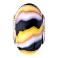 - YELLOW BLACK WHITE STRIPES POLYMER CLAY alternate image 2.