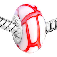 Murano Glass Jewelry - WHITE RED STRIPES FITS MURANO GLASS BEADS CHARMS BRACELETS FIT ALL BRANDS alternate image 1.