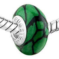 Charms Beads - BLACK STRIPES AGAINST GREEN FITS MURANO GLASS BEADS CHARMS BRACELETS FIT ALL BRANDS alternate image 1.