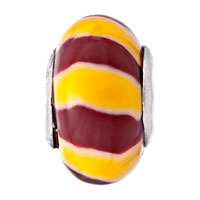 Charms Beads - TOPAZ YELLOW CHOCOLATE BROWN VERTICAL STRIPES POLYMER CLAY FIT ALL BRANDS BEADS CHARMS BRACELETS alternate image 2.