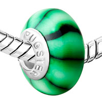 European Beads - GREEN AND BLACK VERTICAL BARS POLYMER CLAY BEADS CHARMS BRACELETS alternate image 1.