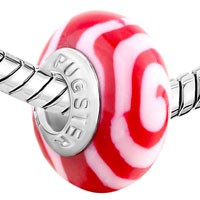 Charms Beads - RED WHIRLPOOL FIT &  MURANO GLASS BEADS CHARMS BRACELETS ALL BRANDS alternate image 1.