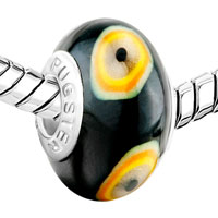 Charms Beads - WHITE ORANGE YELLOW EVIL EYES BLACK POLYMER CLAY FIT ALL BRANDS MURANO GLASS BEADS CHARMS BRACELETS alternate image 1.