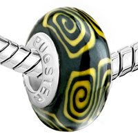 European Beads - YELLOW AND BLACK WHIRLPOOL POLYMER CLAY BEADS CHARMS BRACELETS alternate image 1.