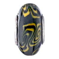 European Beads - YELLOW AND BLACK WHIRLPOOL POLYMER CLAY BEADS CHARMS BRACELETS alternate image 2.