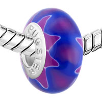 Charms Beads - NAVY BLUE AMETHYST PETAL FLOWER FITS MURANO GLASS BEADS CHARMS BRACELETS FIT ALL BRANDS alternate image 1.