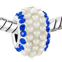 Charms Beads - SAPPHIRE BLUE CRYSTAL CLEAR WHITE PEARLS SILVER MURANO GLASS BEADS CHARMS BRACELETS FIT ALL BRANDS alternate image 1.
