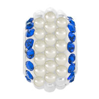 Charms Beads - SAPPHIRE BLUE CRYSTAL CLEAR WHITE PEARLS SILVER MURANO GLASS BEADS CHARMS BRACELETS FIT ALL BRANDS alternate image 2.