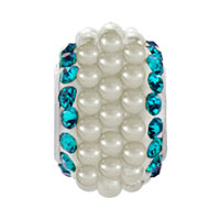 Charms Beads - MARCH AQUAMARINE BLUE CRYSTAL CLEAR WHITE PEARLS SILVER MURANO GLASS BEADS CHARMS BRACELETS FIT ALL BRANDS alternate image 2.