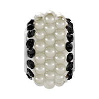 Charms Beads - BLACK CRYSTAL CLEAR WHITE PEARLS SILVER MURANO GLASS BEADS CHARMS BRACELETS FIT ALL BRANDS alternate image 2.