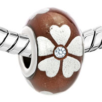 Murano Glass Jewelry - DIAMOND ACCENT SILVER LUCKY CLOVER CHOCOLATE BROWN FLOWER FIT ALL BRANDS MURANO GLASS BEADS CHARMS BRACELETS alternate image 1.