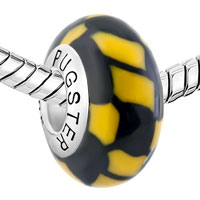 Sterling Silver Jewelry - BLACK YELLOW MARBLE 925  STERLING SILVER GIFT JEWELRY FITS MURANO GLASS BEADS CHARMS BRACELETS FIT ALL BRANDS alternate image 1.