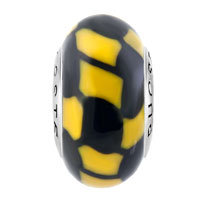 Sterling Silver Jewelry - BLACK YELLOW MARBLE 925  STERLING SILVER GIFT JEWELRY FITS MURANO GLASS BEADS CHARMS BRACELETS FIT ALL BRANDS alternate image 2.