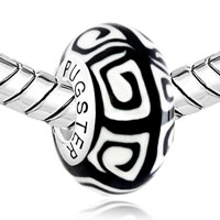 Sterling Silver Jewelry - WHITE BLACK REGULAR 925  STERLING SILVER JEWELRY FITS MURANO GLASS BEADS CHARMS BRACELETS FIT ALL BRANDS alternate image 1.