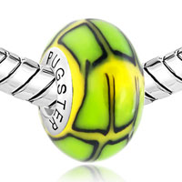 Sterling Silver Jewelry - BLACK LINES GREEN YELLOW 925  STERLING SILVER GIFT JEWELRY FITS MURANO GLASS BEADS CHARMS BRACELETS FIT ALL BRANDS alternate image 1.