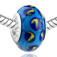 European Beads - DARK BLUE AND YELLOW SLIM MURANO GLASS BEADS CHARMS BRACELETS alternate image 1.