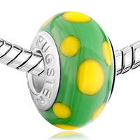 European Beads - EGG YELLOW DOTTED GREEN SLIM FIT ALL BRANDS MURANO GLASS BEADS CHARMS BRACELETS alternate image 1.