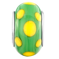 European Beads - EGG YELLOW DOTTED GREEN SLIM FIT ALL BRANDS MURANO GLASS BEADS CHARMS BRACELETS alternate image 2.