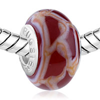 European Beads - WHITE AND ORANGE GRIDLINES FIT ALL BRANDS MURANO GLASS BEADS CHARMS BRACELETS alternate image 1.