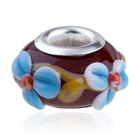 - WHITE AND BLUE SLIM TEXTURE FLOWER WITH RED PISTIL MURANO GLASS ALL BRANDS alternate image 1.