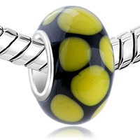 European Beads - YELLOW DOTS SLIM MURANO GLASS BEADS CHARMS BRACELETS alternate image 1.