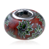  - RED WITH SPARKLING GREEN AND WHITE FLOWER MURANO GLASS ALL BRANDS alternate image 1.