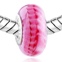 Charms Beads - PINK AND WHITE STRIPE FIT MURANO GLASS BEADS CHARMS BRACELETS ALL BRANDS alternate image 1.