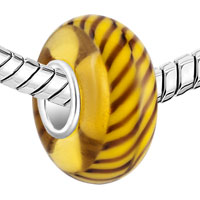 Charms Beads - TAN BROWN STRIPES FIT MURANO GLASS BEADS CHARMS BRACELETS ALL BRANDS alternate image 1.