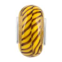 Charms Beads - TAN BROWN STRIPES FIT MURANO GLASS BEADS CHARMS BRACELETS ALL BRANDS alternate image 2.