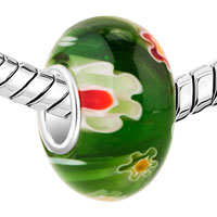 Charms Beads - ORANGE AND GREEN FLOWER FIT MURANO GLASS BEADS CHARMS BRACELETS ALL BRANDS alternate image 1.