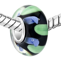 Charms Beads - BLUE GREEN ZIGZAG TRANSLUCENT MURANO GLASS BEADS CHARMS BRACELETS FIT ALL BRANDS alternate image 1.