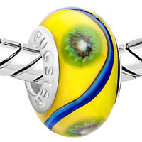 European Beads - YELLOW WITH BLUE RIBBON AND GREEN FLOWER ALL BRANDS MURANO GLASS BEADS CHARMS BRACELETS alternate image 1.