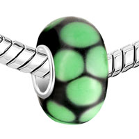 Charms Beads - GREEN CIRCLE DOTTED MURANO GLASS BEADS CHARMS BRACELETS FIT ALL BRANDS alternate image 1.