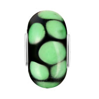 Charms Beads - GREEN CIRCLE DOTTED MURANO GLASS BEADS CHARMS BRACELETS FIT ALL BRANDS alternate image 2.