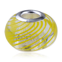 Charms Beads - MURANO GLASS YELLOW PARALLEL LINES TRANSLUCENT FIT BEADS CHARMS BRACELETS ALL BRANDS alternate image 1.