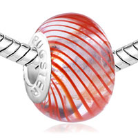 Charms Beads - MURANO GLASS ORANGE PARALLEL RAY TRANSLUCENT FIT BEADS CHARMS BRACELETS ALL BRANDS alternate image 1.