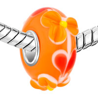 European Beads - ORANGE TEXTURE FLORET SLIM MURANO GLASS BEADS CHARMS BRACELETS alternate image 2.