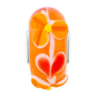 European Beads - ORANGE TEXTURE FLORET SLIM MURANO GLASS BEADS CHARMS BRACELETS alternate image 1.