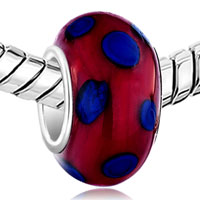 New Arrivals - METALLIC RED BLUE DOTS FIT ALL BRANDS MURANO GLASS BEADS CHARMS BRACELETS alternate image 1.