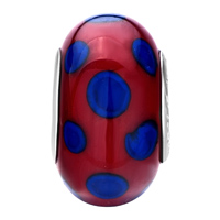 New Arrivals - METALLIC RED BLUE DOTS FIT ALL BRANDS MURANO GLASS BEADS CHARMS BRACELETS alternate image 2.