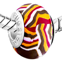 Charms Beads - MAGENTA CHOCOLATE STRIPE YELLOW WITH FIT MURANO GLASS BEADS CHARMS BRACELETS ALL BRANDS alternate image 1.
