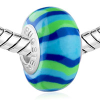 Charms Beads - BLUE GREEN STRIPES FITS MURANO GLASS BEADS CHARMS BRACELETS FIT ALL BRANDS alternate image 1.