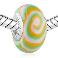 Charms Beads - WHITE GREEN ORANGE SWIRL FITS MURANO GLASS BEADS CHARMS BRACELETS FIT ALL BRANDS alternate image 1.